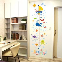 Wholesale Cartoon Shark Ocean Animal Baby Height Measure Sticker Kids Room Decoration Decal Removable Boy Growth Chart Stadiometers Mural