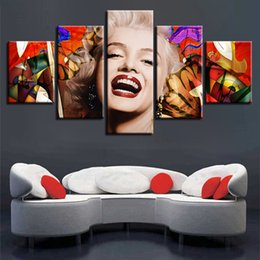 marilyn monroe canvas pictures NZ - Modern Fashion Home Decoration Painting High Quality Canvas Print Picture Unframed 5 Pieces Sexy Marilyn Monroe Painting For Living Room