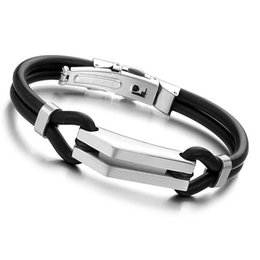 e1c06ae677fc Silver Gifts For Boys UK - Gold Silver Black Color Fashion Simple Men s  Silicone Bangle Stainless