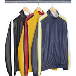 Tracksuits Jacket Canada - Box Logo Bonded Mesh Track Jacket Pants Sports Set Luxury Stitching Unisex Sweatshirt Casual Coat Tops Pants Fitness Tracksuit HFYMTZ013
