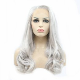 Grey woman hair wiGs online shopping - Hot Sexy Silver Gray Wig Body Wave Natural Long Hair Synthetic Lace Front Wigs for Women Girls Replacement Platinum Light Grey Wig