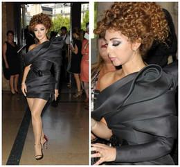 China Popular Arabic Myriam Fares Black Cocktail Dresses Celebrity Dress Sheath One Shoulder Pleats Mini Short Party Pageant Gowns supplier popular cocktail dresses suppliers