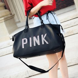 8bdc7f032dc2 Pink Bag Black Beach Exercise Luggage High Capacity Travel Bag Handbag  Women men pink Letter Gym Tote Bag Outdoor Sports Storage Bags HHA1