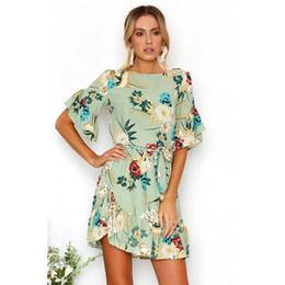 a4bb8d6a57ea Summer Women s Floral Mini Dress Ruffle Dress Round Neck Short Sleeve  Belted Dress for Girls
