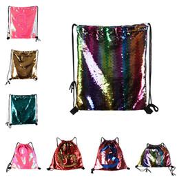 Genuine Leather Crossbody Handbags Wholesale Australia - Mermaid Glitter Sequins Backpacks Drawstring Fashion Sport Gym PE Backpacks Crossbody HandBags Cosmetic Makeup Bag Tote Storage Bag LC793-1