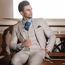 $enCountryForm.capitalKeyWord Canada - Custom Made 2018 Ivory Cream Groom Tuxedos Italian Style Mens Wedding Prom Dinner Suits 3 Piece Slim Fit Formal Best Man Jacket+Pants+Vest