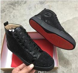 Marque de luxe avec boîte haut haut rouge baskets bas de mode strass clouté lacets Causal chaussure homme femme pas cher baskets taille 35-47