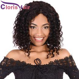 Discount brazilian deep curly human hair short - Brazilian Deep Wave Wig 130% Density Glueless Short Pixie Human Hair Bob Wigs For Black Women Pre Plucked Unprocessed Cu