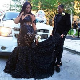 Sheer Black Dress Canada - African Plus Size Prom Dresses Long Sequins Appliques Sheer Mermaid Evening Gowns 2018 Long Sleeves Tiered Black Girls 3D Floral Party Dress