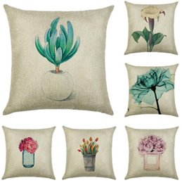 $enCountryForm.capitalKeyWord Australia - Tropical plants Pillow Case rustic style Flowers and plants Potted plant Pillowcases 45*45cm Cars cushion cover Home Sofa Bed decorate