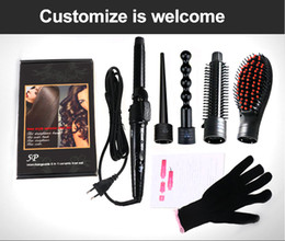 Ceramic Wand Curling Iron NZ - 5 Part Hair Curling Iron Machine The Wand Interchangeable Hair Style Tool 5 In 1 Curling Wand 5P Ceramic Hair Curler