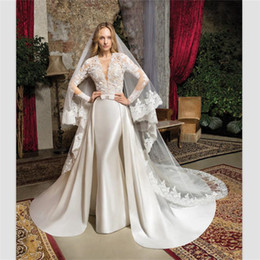 $enCountryForm.capitalKeyWord Australia - Vestido De Noiva Mermaid Bride Dress Champagne Satin Wedding Gowns 2018 Royal Custom Long Sleeves Wedding Dresses With Train+Bridal Veil