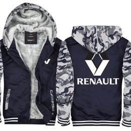 Camouflage Cars NZ - Camouflage Renault Car Logo Hoodie Men and Women Winter Thicken fleece Cotton Zipper Casual Coat Jacket Super Warm Sweatshirt USA EU Size