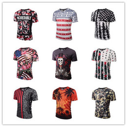 Wholesale stylish mens white t shirts online – design Stylish D Printing Mens T Shirt Clothes V neck Short Sleeve Men T Shirt Slim Fit Fashion High Street Style Tee