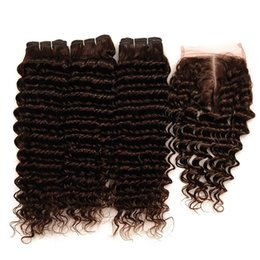 Discount chestnut brown hair weave - Deep Wave Brown Human Hair Bundles With Lace Closure Chestnut Brown Hair Extension Deep Curly Hair Weaves With Lace Clos