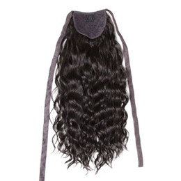 $enCountryForm.capitalKeyWord UK - Human hair wavy curly ponytail hairpiece wrap around clip in drawstring brazilian hair drawstring ponytail for black women 120g 4 colors