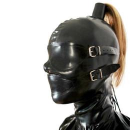 Discount latex fetish hoods mask - sexy exotic new design unisex male female women handmade black Latex Mask with Hair wig tress Hoods back zipper Fetish X