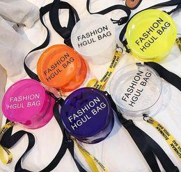 $enCountryForm.capitalKeyWord NZ - 6styles Transparent Letter Printed round bag PVC Mini Cosmetic Shoulder Bag Circular travel fashion purse crossbody handbag FFA654 10pcs