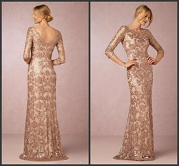 Chinese  Long Sleeves Rose Gold Mother of the Bride Groom Dresses 2018 Bateau Neck Plus Size Vintage Lace Long Formal Evening Party Vestios De Novia manufacturers