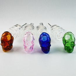 glass water pipe coils 2019 - Wholesale Colorful Skull Shape Glass Pipe Coiled Pyrex Glass Oil Burner Smoking Hand Pipe Water Pipes Spoon Pipes One Hi