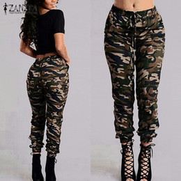 b0638bb3ec0 ZANZEA 2018 Camouflage Printed Pants Plus Size S-3XL Autumn Army Cargo Pants  Women Trousers Military Elastic Waist Pants S18101605