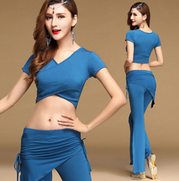 Discount sexy indian woman costumes - Sexy Modal Oriental Belly Dance Bellydance Costume Set Crop Shirts Tops Pants for Womens Indian Dancing Clothes Wear Clo