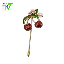 Chinese  F.J4Z New Arrival Pretty Cherry Costume Brooch For Suit Jewelry Hot Fashion Exce Party Gift Brooch For Women manufacturers