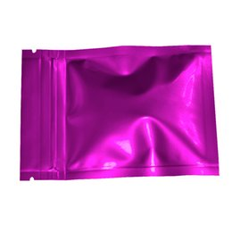 seal packs UK - 100pcs lot 7.5*10cm Reclosable Purple Mylar Packing Bag Wholesale Self Seal Aluminum Foil Zip Lock Food Grade Packing Bag Pouch Retail