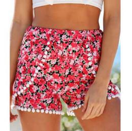 569636f76d Elastic Mid Waist Women Shorts feminino Hot Sale Pom Pom Ball Floral Casual  Mini Dot Summer Shorts Women Sexy Red Short Pants