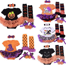 Infant Halloween Costumes Months NZ - 2016 Halloween Baby Girls Infant 4pcs Clothing Sets Romper Dress Jumpersuit+Headband+Shoes+Stockings Hgeteen Pumpkin Bebe Costume wholesale
