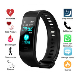Waterproof Electronics Canada - Y5 Color Screen Wristband Watch Smart Electronics Bracelet Waterproof Heart Rate Activity Fitness VS for Xiaomi Miband 2