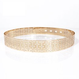 Chains For Mirrors Australia - Women Punk Full Metal Mirror skinny Waist Belt Metallic Gold Plate 3cm Wide Chains Lady ceinture sashes for dresses BL416