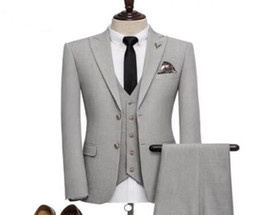 Dark Green Tie Grey Suit Australia - 2018 New Costume Homme Grey Men Suit 3Pieces(Jacket+Pant+Vest+Tie) Groom Prom Terno Masculino Trajes De Hombre Blazer Fashion
