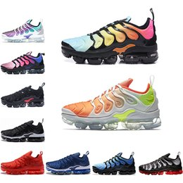 b645098ab7ef 2018 New Vapormax plus TN Running Shoes Grape Cargo Khaki barely grey  bleached aqua Hyper Violet Volt Red Shark Tooth Sports Sneakers
