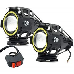 Discount angel eyes bulbs - 2PCS Motorcycle Headlights LED Spotlights Fog Lights with White Angel Eye Ring U7 for CREE 15W Waterproof Motorbike LED