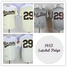 St cream online shopping - Mens Satchel Paige St Louis Browns Jersey Stitched white cream Satchel Paige baseball Jerseys S XL