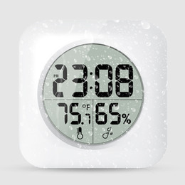 Chinese  White Waterproof Digital Bathroom Shower Hang Clock LCD Display Suction Cup Wall Tabel Clock Temperature Thermometer Hygrometer AAA626 manufacturers