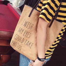 $enCountryForm.capitalKeyWord NZ - Kraft Brown Paper Canvas Handle Shoulder Bag Shopping Gift Tote Fashion Look Stylish Summer Light Bag For Girls Women