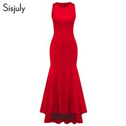 a9e994d90a0 Sisjuly Sexy Moulante Vintage Club Femmes Longues Robes Rouges Gaine  Falbala Plaine Pourpre Filles Mode Femme Élégante Robe De Fête