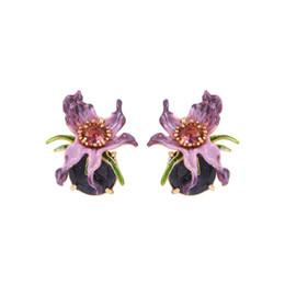 $enCountryForm.capitalKeyWord UK - Warmhome Trendy Jewelry Enamel Glaze Fashion Purple Flowers Plants Women Earrings New Female Cute
