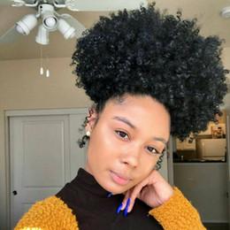 Clip Hair Black Australia - Brazilian Virgin Kinky Curly Ponytail Human Hair Drawstring Short Hight Ponytail Afro KINKY CULRY Hair Clip in Ponytail For Black Women