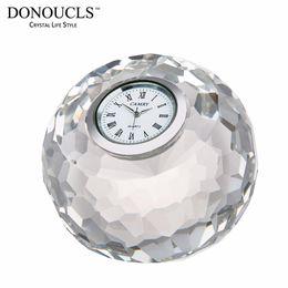 $enCountryForm.capitalKeyWord NZ - DONOUCLS Apple Table Clock Radiance Coll Cut Crystal Optical Glass Craft Round Clear 8cm X 8cm X 7.5cm