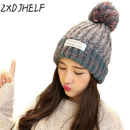 ... ZXDJHELF Beanie Winter Hats Women Crochet Knit Cap Skullies Beanies  Warm Caps Female Solid Knitted Stylish ... a330901222a4