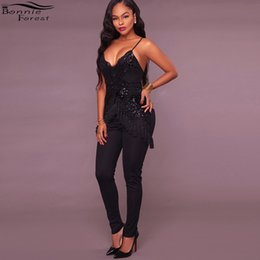 Deep Backless Club Jumpsuit Canada - Bonnie Forest Sexy Women Strap Sequins Tassel Fringe Jumpsuits Autumn Deep V neck Party Club Backless Bodycon jumpsuit Plus Size