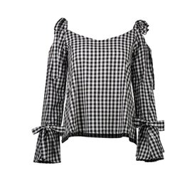 Chinese  Long Sleeve T Shirt Women Autumn Plaid Off The Shoulder Tops For Women T-Shirts Flare Sleeve Lace Up Bow T-Shirt Women Tops Female manufacturers