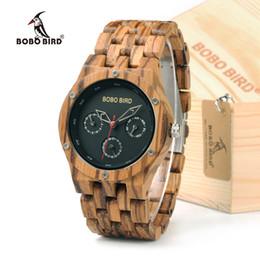 Lightweight Batteries NZ - en's Watches Quartz Wristwatches BOBO BIRD N11 Handmade Men's Top Brand Zebra Wooden Watch Lightweight With Date Retro Wrist Watch With G...