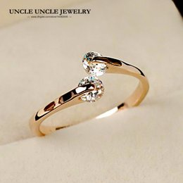 18krgp Rose Gold Canada - On Sale Rose Gold Color 2 Pcs Zirconia Open Style Twin Crystal Fashion Woman Finger Ring Christmas Gifts Wholesale 18krgp stamp