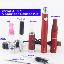 ecigs kits 2019 - eVod 4 in 1 Vape Pen with Wax Glass Globe Single Cotton Coil MT3 Eliquid Oil Ago Dry Herb Vaporizer Starter Kit eCigs ch