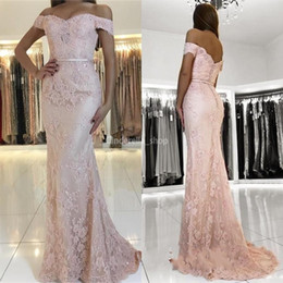 $enCountryForm.capitalKeyWord Australia - Blush Pink Full Lace Prom Dresses 2019 Off Shoulder Beads Ribbon Mermaid Sweep Train Modest Arabic Formal Evening Party Gowns Customized