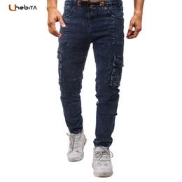 $enCountryForm.capitalKeyWord NZ - Unebiya Casual Blue Jeans Men Brand Slim Fit Mens Biker Jean Pants Deisgn Side Pockets Elastic Waist Drawstring Male Trousers